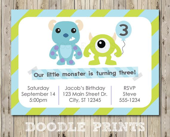 """Printable Monsters Inc Birthday Party Invitation - Customized Printable Invitation Boy's Party """"Monsters Inc - Mike and Sully"""" 5x7"""" on Etsy, $8.00"""