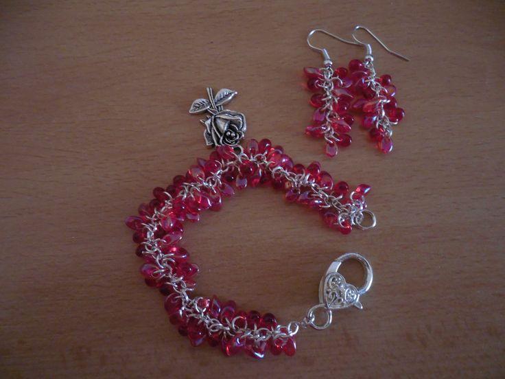 Beads bracelet - Red rose