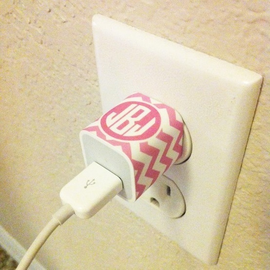 Monogrammed iPhone Charger Labels so that we don't lose our chargers when traveling to our families' homes!