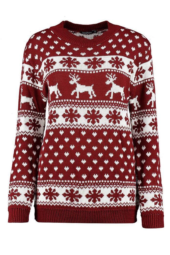 Reindeer amp Snowflake Christmas Jumper Boohoo UK in
