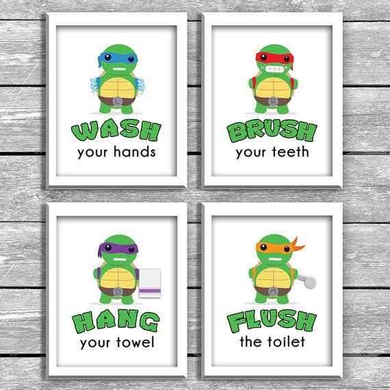 Set Of 4 8x10 Inch Wash Brush Hang Flush Baby Ninja Turtle Kids Bathroom Reminders - TMNT Printable Download - Superhero Wall Art - Gift