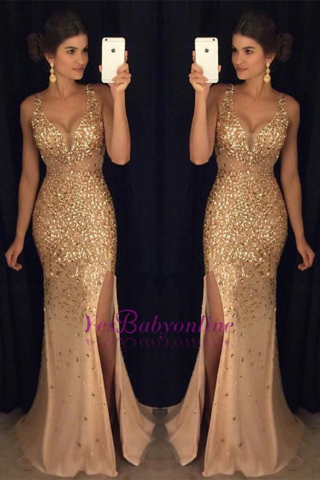 Luxury Gold Mermaid Prom Dresses Sleeveless Front Split Crystals Long Evening Gowns_Prom Dresses_2017 Special Occasion Dresses_Wholesale Wedding Dresses, Lace Prom Dresses, Long Formal Dresses, Affordable Prom Dresses - High Quality Wedding Dresses - Yesbabyonline.com