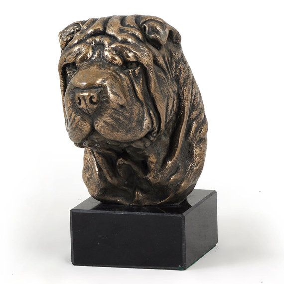 Shar Pei dog marble statue limited edition by ArtDogshopcenter