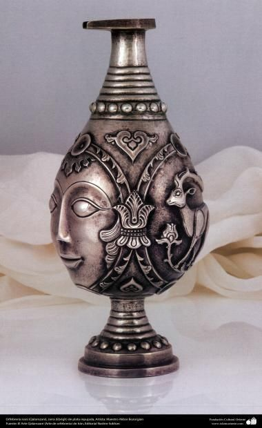 Orfebrería iraní (Qalamzani) Jarra (Ebrigh) de plata repujada Artista: Maestro Akbar Bozorgian -139