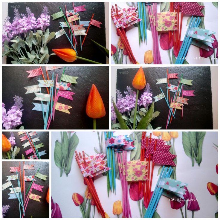 Banderitas con el palo de madera con diferentes estampados (flores, rayas, lunares) ideales para celebraciones y fiestas