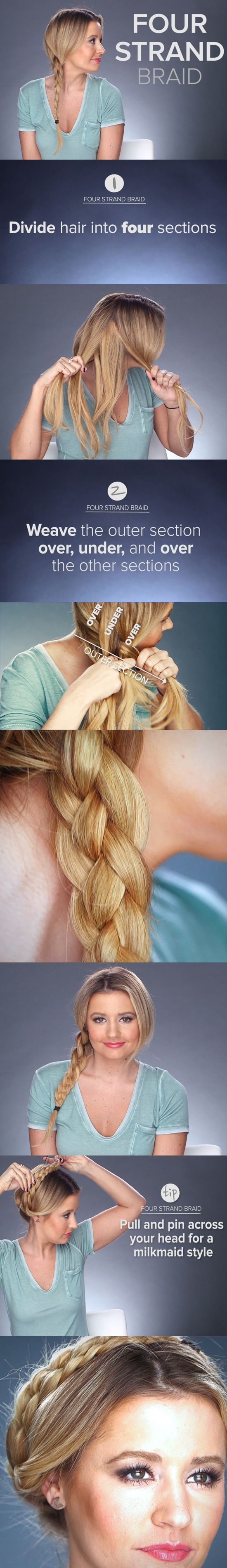 Upgrade your braid game: the four-strand braid  Finish it off with an #americanjewel hair tie :)
