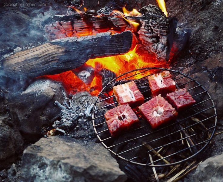 Burnt campfire blood orange with creme fraiche - http://3000acrekitchen.com/fire-roasted-chicken