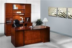The fabulous Sorrento Executive Desk Set by Mayline! This beautiful desk is clad in a gorgeous Bourbon Cherry finish for rich color! #deskset #prettydesk #wooddesk
