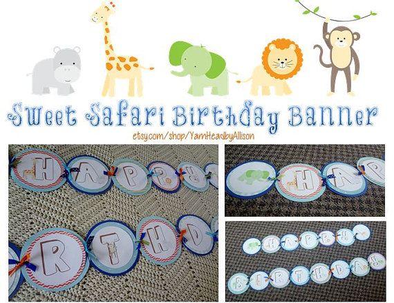 Sweet Safari Birthday Banner Jungle Animals by YarnHeadbyAllison.  Sweet at one Safari Birthday Banner - custom designed and hand made!