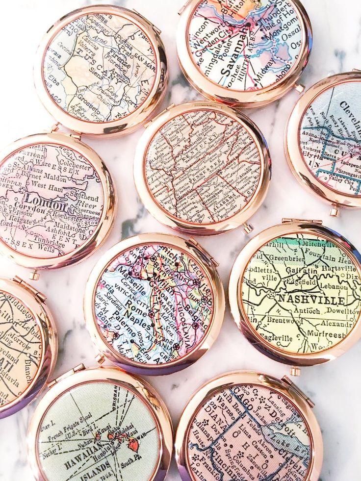 Vintage Map Mirror Compact Compact Mirror Makeup Mirror