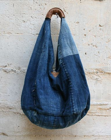 Shoulder Bag - Japanese Boro...could make this with repurposed jeans and some leather from old bag...looks great