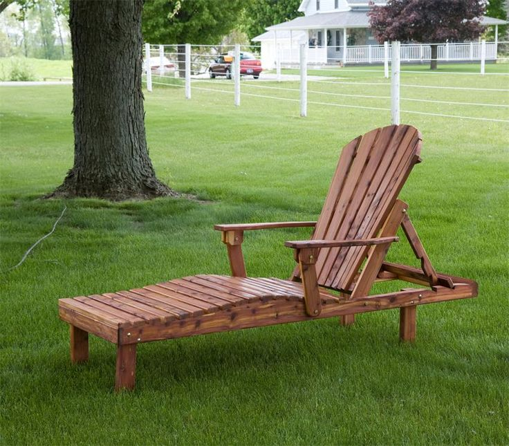 Amish Cedar Wood Outdoor Chaise Lounge It's your choice of either Adirondack style or a Straightback for this outdoor wooden chaise lounge.