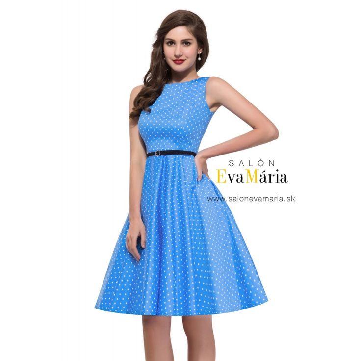 Modré bodkované retro šaty pre družičku