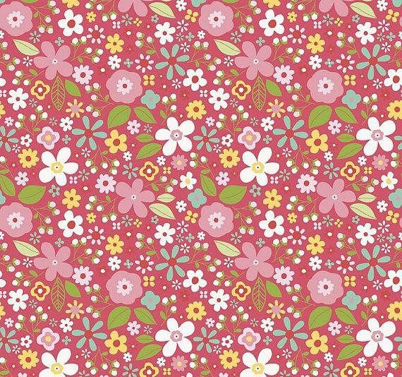 Sale Garden Girl Raspberry Floral Fabric By Zoe Pearn For Riley