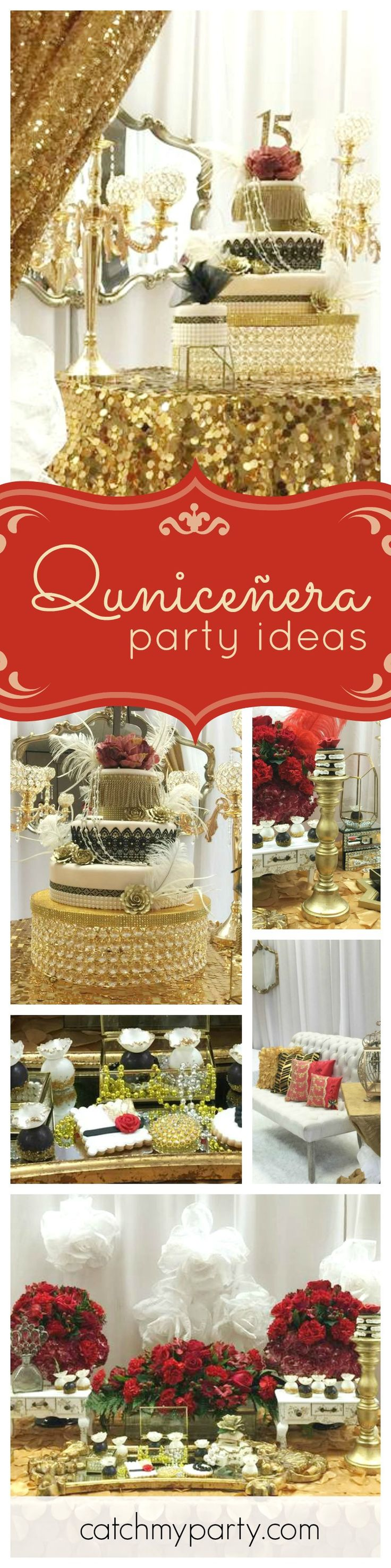 You don't want to miss this glamourous Great Gatsby inspired Quinceñera!! The birthday cake is spectacular!! See more party ideas and share yours at CatchMyParty.com