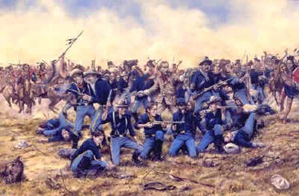 The Battle of the Little Bighorn, also called Custer's Last Stand, was an engagement between a Lakota-Northern Cheyenne combined force and the 7th Cavalry of the United States Army, June 25- June 26, 1876 near the Little Bighorn River in the eastern Montana Territory. The battle was the most famous incident in the Indian Wars and was a remarkable victory for the Lakota and Northern Cheyenne. The U.S. cavalry detachment commanded by Lt. Col. George Armstrong Custer was killed to the last man…