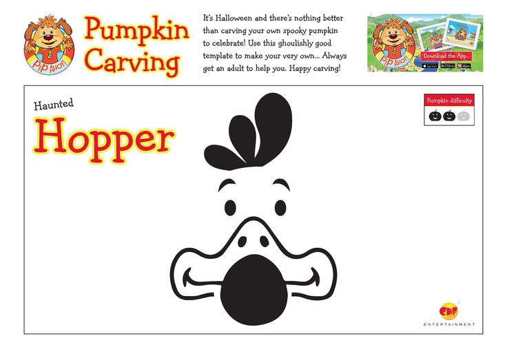 Use these ghoulishly good template to carve your very own Haunted Hopper Pumpkin! Always get an adult to help you! #Halloween #HappyCarving #HauntedHopper