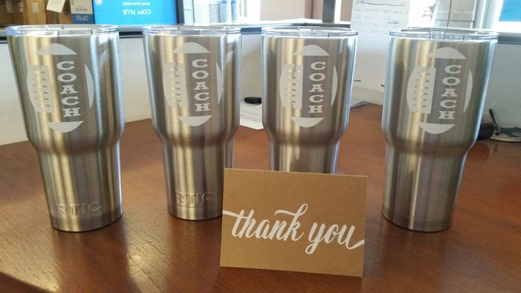 Football coaches thank you gifts. Rtic brand cups!