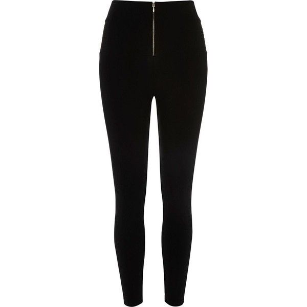 Black high waisted zip front leggings (310 ARS) ❤ liked on Polyvore featuring pants, leggings, bottoms, calças, jeans, black, sale, high waisted leggings, high rise pants and tall pants