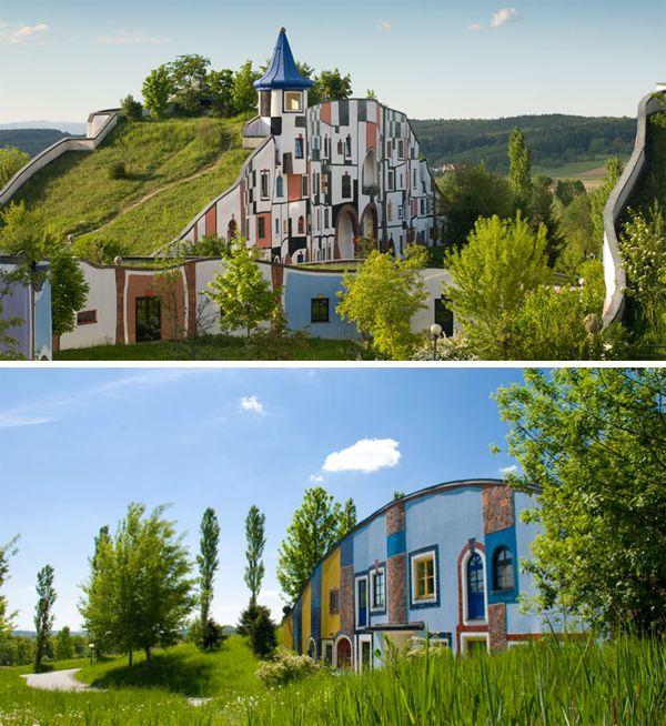 Wellness hotel Rogner Bad Blumau in Austria. Doesn't it look like something a rich hobbit would live in?