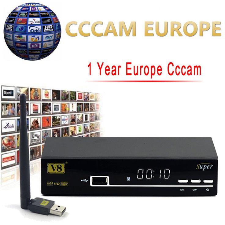 1 Yıl Avrupa Cccam Sunucu HD Freesat V8 Süper DVB-S2 Uydu alıcı Ile Tam 1080 P İtalya İspanya Arapça Cccam Cline USB Wifi