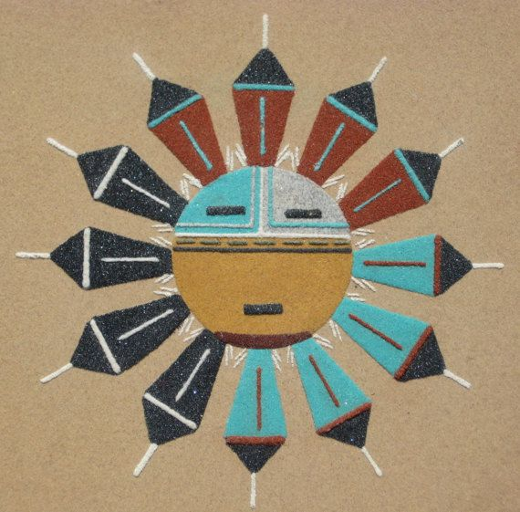 Vintage Navajo Sand Painting Sun Face Native American Indian Sand Painting American Indian