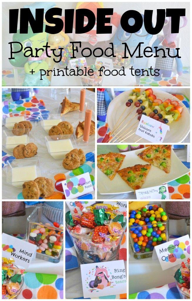 Inside Out party food menu + FREE printable food tent #InsideOut #Disney #Pixar
