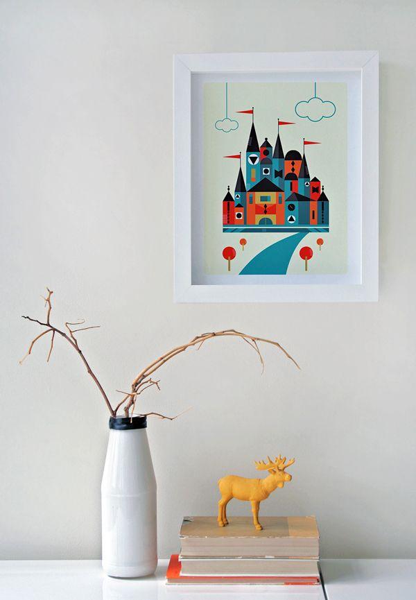 Modern style illustration of a castle