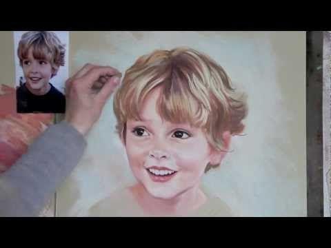 Dessin et peinture - vidéo 832 : Réalisation étape par étape d'un portrait d'enfant au pastel tendre et au crayon-pastel.