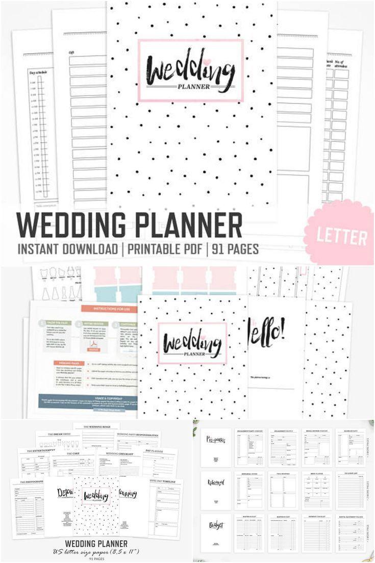 wedding planner letter size wedding binder bride party organizer planner bridal shower ceremony honeymoon planner pdf printable weddings ad