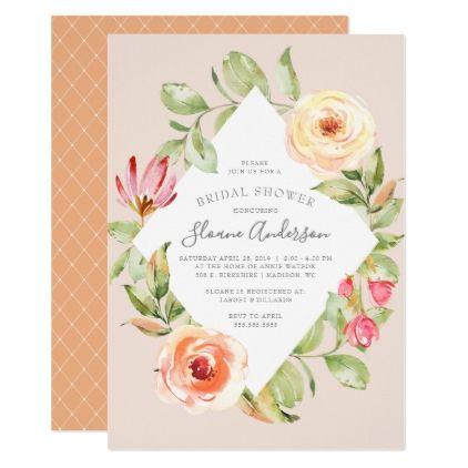 Elegant Spring Floral Diamond Peach Bridal Shower Card - invitations custom unique diy personalize occasions
