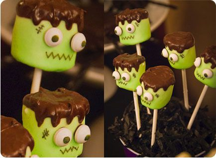 halloween party franken pops - Decorating For Halloween On A Budget