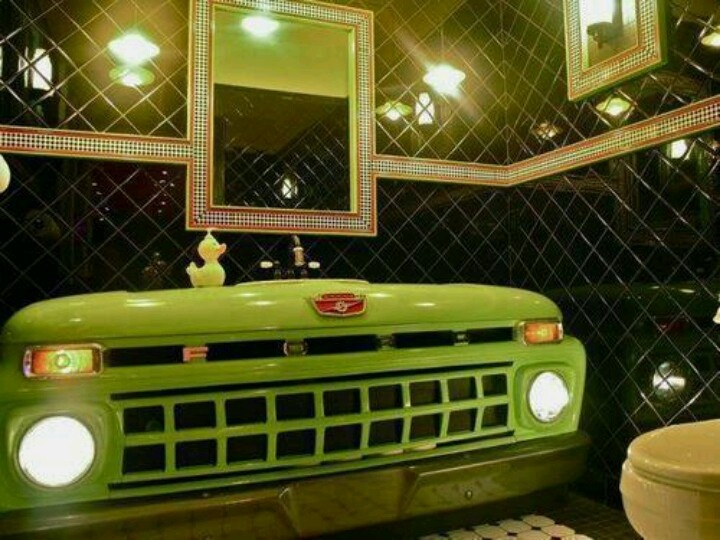 Omg ford front end into a bathroom sink counter for Man cave bathroom sink