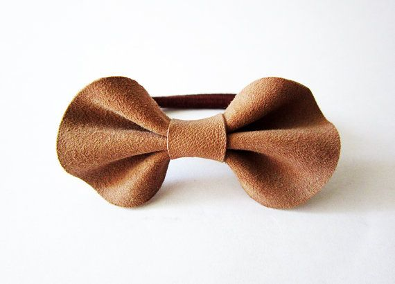 Bow ponytail holder leather bow elastic ponytail by Akamatra, $9.00