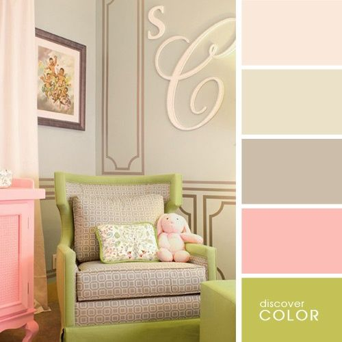 beige + pink + lime green