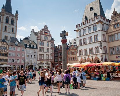 Trier Germany has a huge Walk Platz in the middle of town and it is always bustling with people.  Wonderful place to visit
