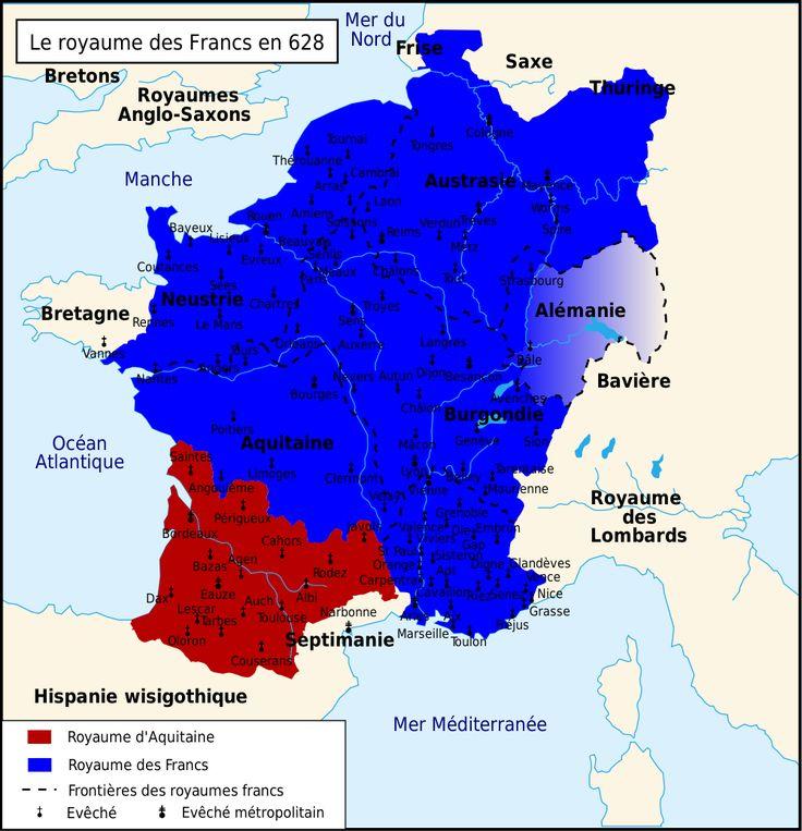 Carte du Royaume des Francs en 628
