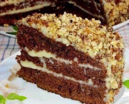 Шоколадный торт на кефире «Фантастика»  Очень простой и необычный рецепт вкусного торта. Приготовить сможет любой. Попробуйте обязательно!  Ингредиенты: Для теста: ●Кефир или простокваша -300 г ●Сахар – 1 стакан ●Яйца – 2 шт. ●Растительное масло – 2 ст. л. ●Какао – 2-3 ст. л. ●Сода – 1 ч.л. ●Мука – 2 стакана  Для крема: 1- вариант – сметанный крем ●Сметана – 400 г ●Сахар – 1 стакан ●Масло сливочное -200 г  2- вариант – заварной крем ●Яйца – 2 шт. ●Сахар – 300 г ●Мука-2 ст. л (с горкой)…