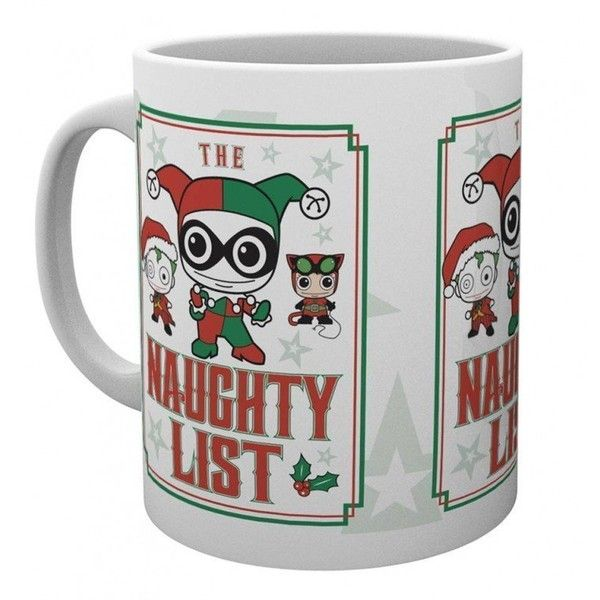 DC Comics Naughty List Christmas Mug (2.520 CLP) ❤ liked on Polyvore featuring home, kitchen & dining, drinkware, christmas drinkware, xmas mugs and christmas mugs