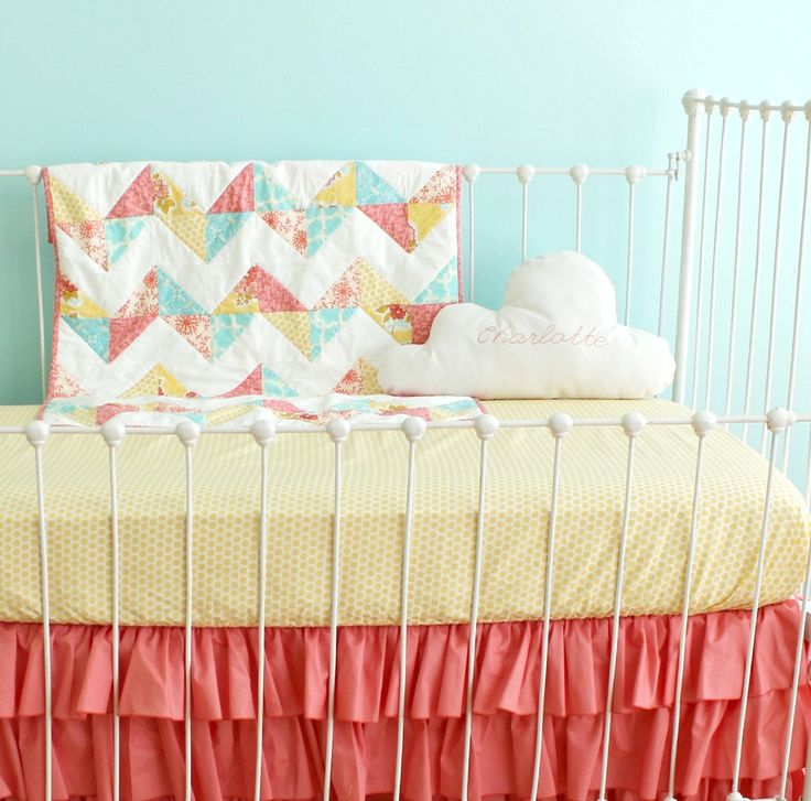 121 best Coral & grey nursery images on Pinterest | Baby room ... : quilted crib sheet - Adamdwight.com