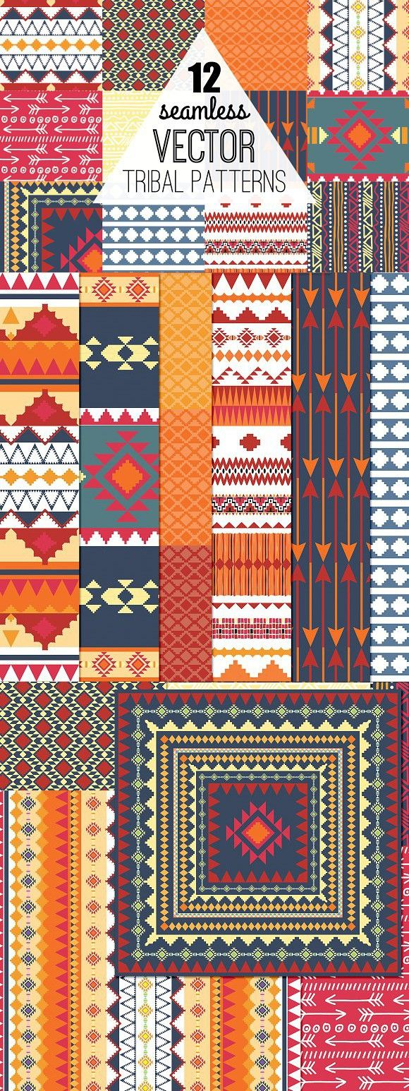 Seamless Vector Aztec Tribal Pattern. Patterns