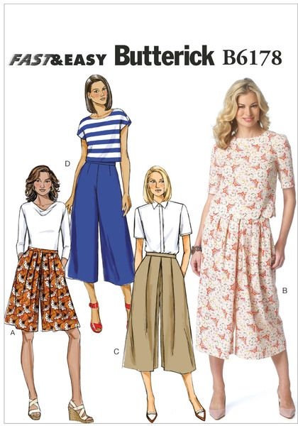 "MISSES' CULOTTES: Culottes have waistband, side pockets and back zipper. A, B and C: Pleat variations. D: Semi-fitted.   Designed for lightweight to medium-weight woven fabrics.   FABRICS: Linen, Challis, Denim, Broadcloth.   *With Nap. **Without Nap.   Unsuitable for obvious diagonals.   NOTIONS: One 7"" Zipper and Hook & Eye.   Combinations: A5(6-8-10-12-14), E5(14-16-18-20-22)"