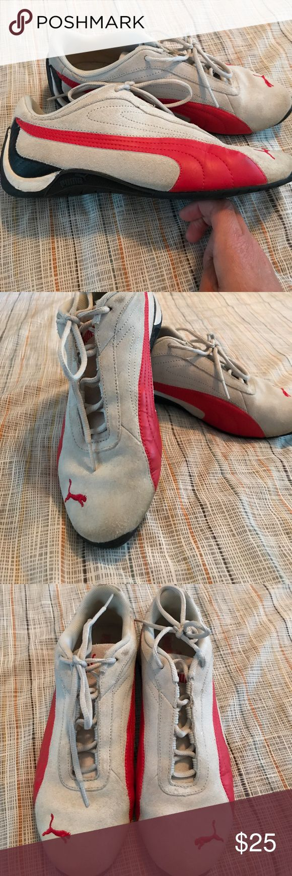 Puma Shoes Pluma gray and red shoes EUR 38 and US 8 Puma Shoes Athletic Shoes
