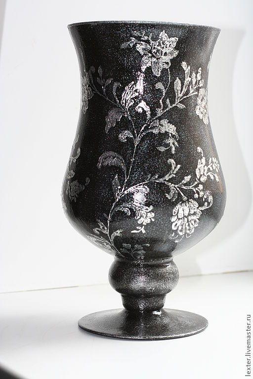 Купить Вазы ручной работы. Стеклянная ваза Серебро на чёрном - серебряный, серебро, цветочный орнамент