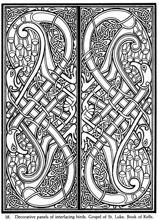 Decorative panels of interlacing birds gospel of st for Book of kells coloring pages