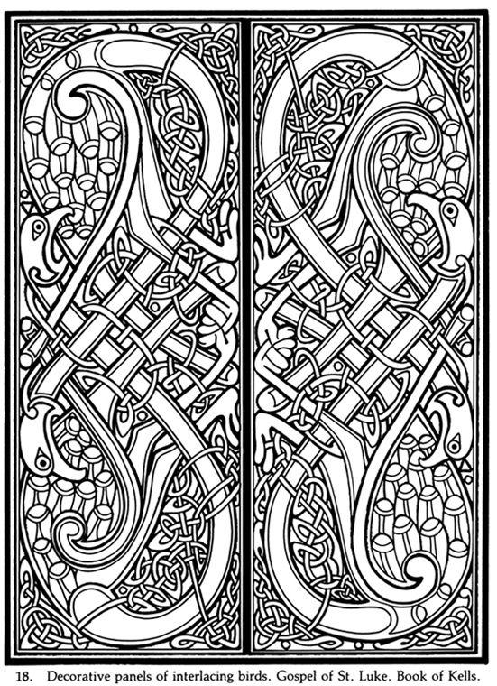 decorative panels of interlacing birds gospel of st luke book of kells - Decorative Panels