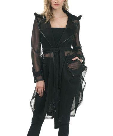 Another great find on #zulily! Black Sheer Ruffle-Hem Tie-Waist Coat #zulilyfinds