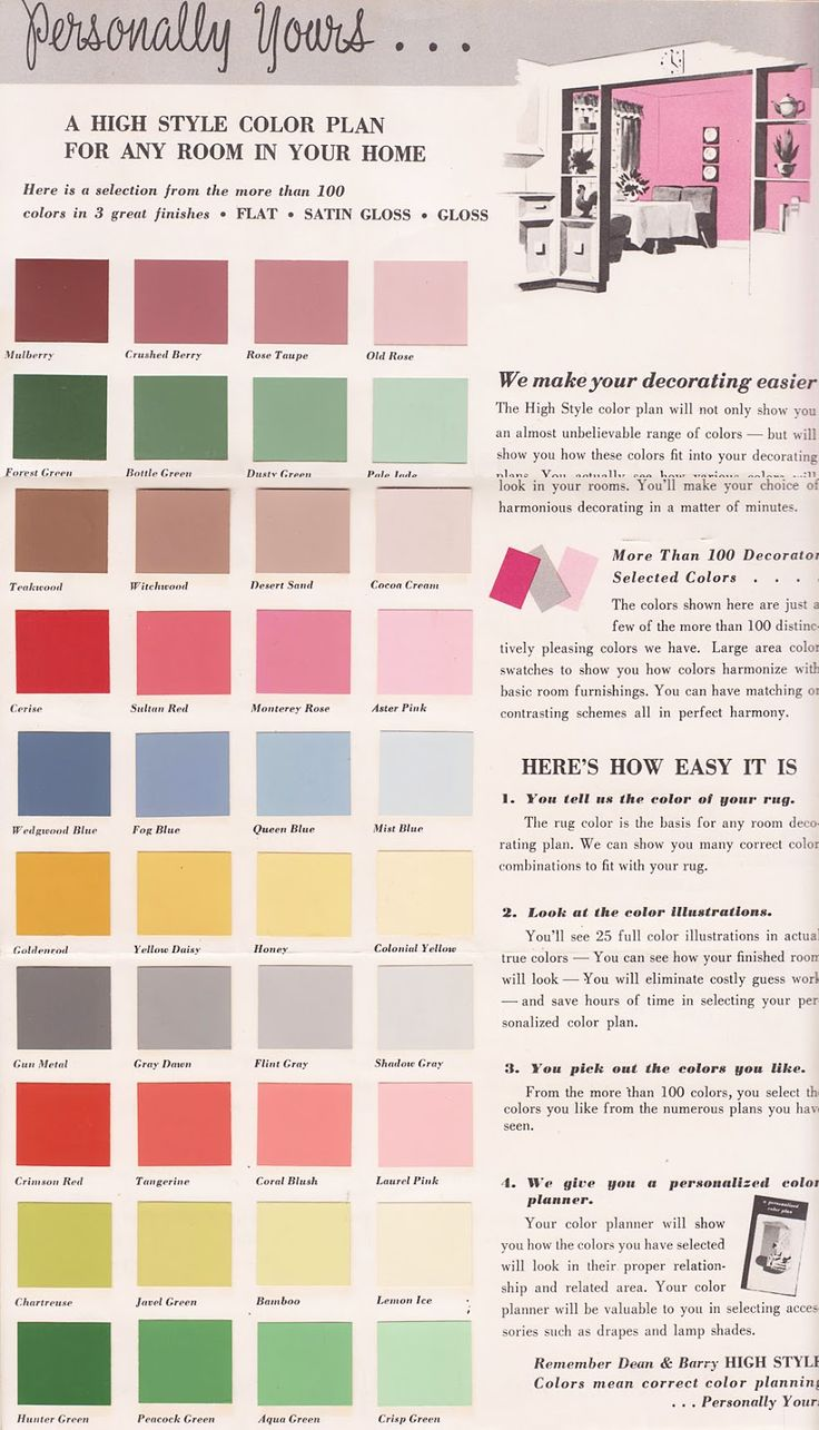 Colors for my office - Vintage Goodness Vintage Decorating - Paint Color  Chip Brochures
