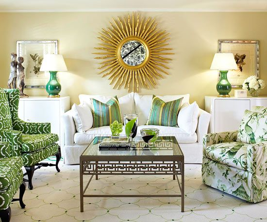A Smattering Of Kelly Green Accessories Gives This Stately Living Room Graphic Presence