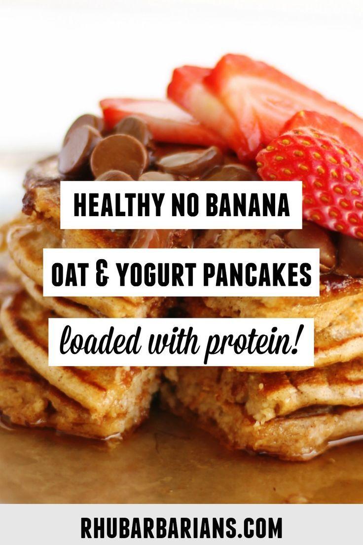 Fluffy Healthy Yogurt And Oat Flour Pancakes Rhubarbarians Recipe Oat Pancakes Oatmeal Pancakes Healthy Banana Oat Pancakes